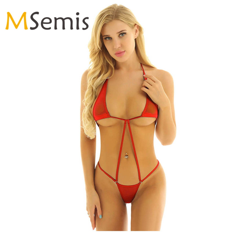 Women's Swimsuit Mini Micro Thong Bikini Swimwear Two-Piece Swimming Suit G-String Lingerie Halter Neck Backless Bathing Suit
