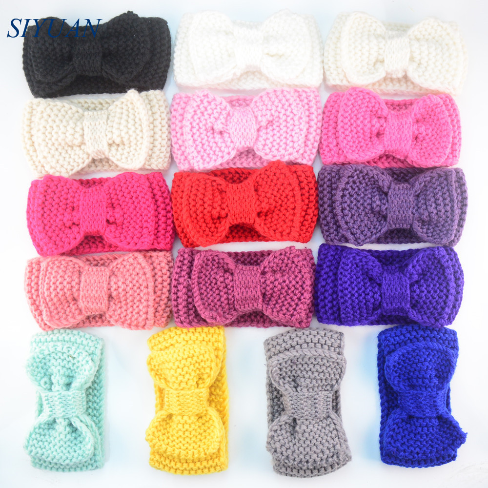 100pcs lot Chunky Crochet Knitted Bow Turban Headwrap Girls Winter Headband Photo Props Boutique Hair Accessories