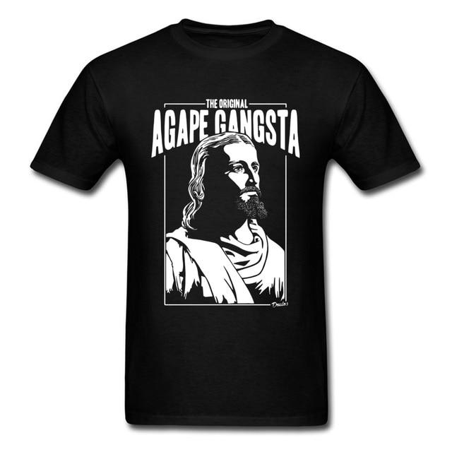 US $7 44 39% OFF|Original Bible Gangsta T Shirts Men Tees Jesus Tops Black  TShirt Newest T shirt Normal Cotton Clothes Summer Drop Shipping-in