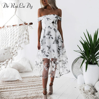DeRuiLaDy Off Shoulder Mesh Summer Long Dress Women Elegant Flower Print Backless Dresses Fashion Casual Party