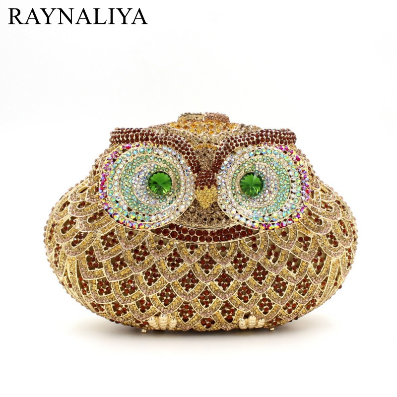 Ladies Wedding Dress Bridal Crystal Owl Clutch Bag Women Diamond Dinner Banquet Purse Silver Metal Clutches Handbag SMYZH-E0226 luxury crystal clutch handbag women evening bag wedding party purses banquet