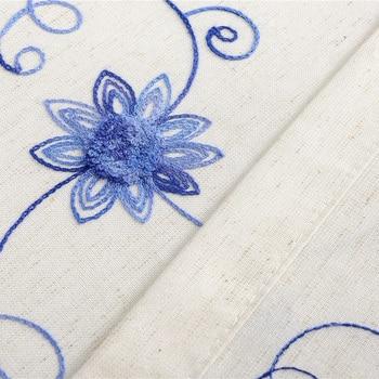 Rideaux Brodés Bleus Polyester Coton Tissus Rideaux Floraux Salle Décorative Diviseur Pastorale Salon Rideaux B16199-2