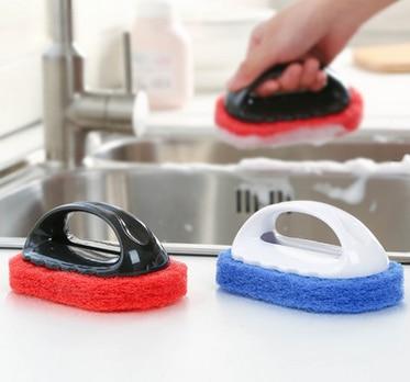 100pcs Plastic Handheld Sponge Kitchen Cleaning Bathtub Ceramic Tile Glass  WC Brush Sponge Durable Wall Cleaner