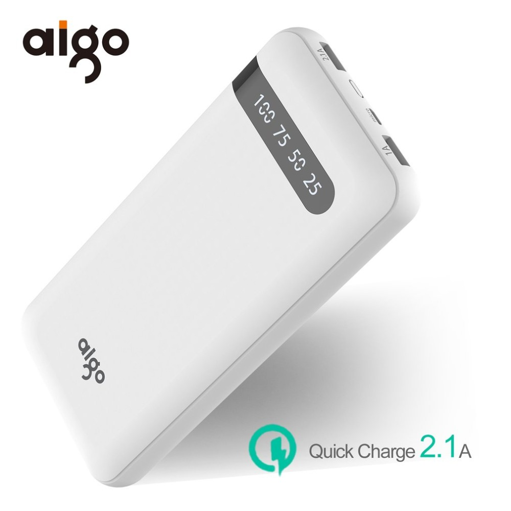 Aigo Power Bank 20000mAh Dual USB LCD Display PowerBank Portable Charger External Battery Poverbank For iPhone X 6 7 8 Plus