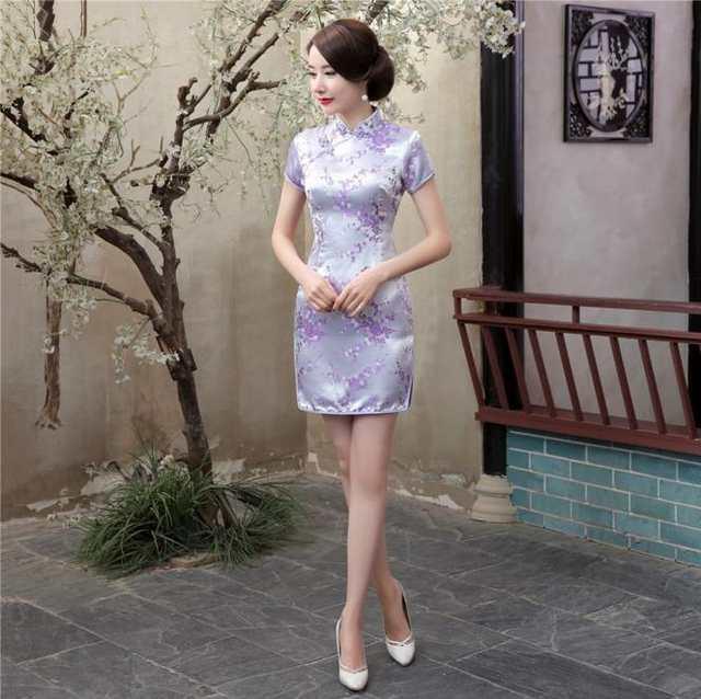 baac4627b8c placeholder Summer Sexy Black Chinese Women Mini Dress Traditional Silk  Satin Qipao Cheongsam Flower Size S