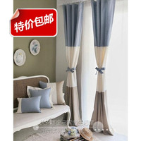 Brief Fashion Shade Cloth Blue And White Retro Striped Splice Drapery Panels Modern Curtains For Home