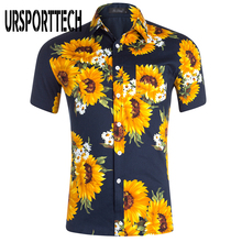 URSPORTTECH Men Hawaiian Shirt Summer 100% Cotton Short Sleeve Vintage Floral Printed Beach Shirts For Plus Size
