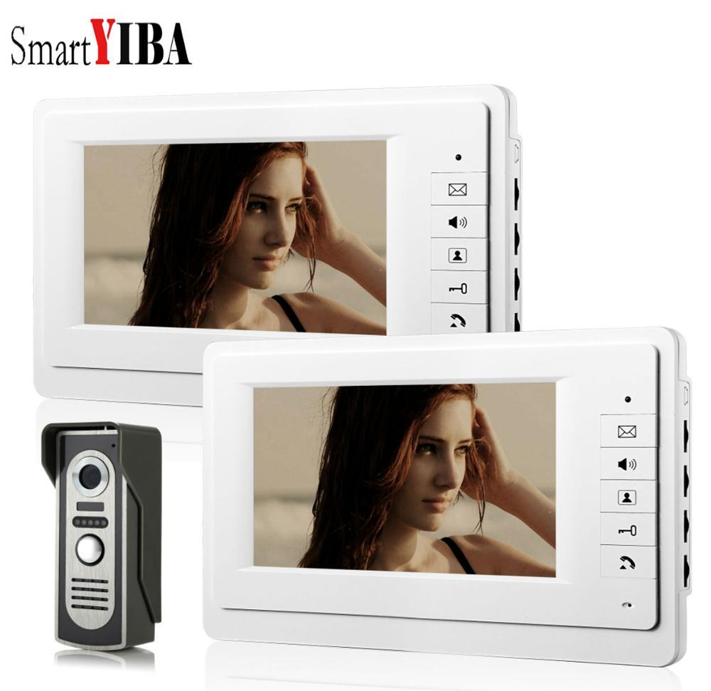 SmartYIBA 7''LCD Wired Video Doorbell Door Phone Visual Intercom Security System 1000TVL Waterproof Outdoor Camera Night Vision