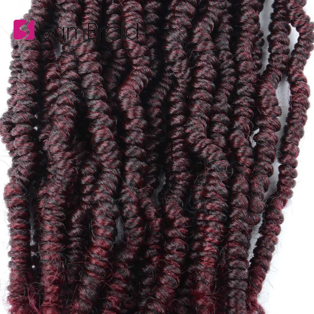 SAMBRAID primavera extensiones de cabello trenzado sintético extensiones de cabello rizado Crochet pelo pasión Twist 24 hebras/paquete