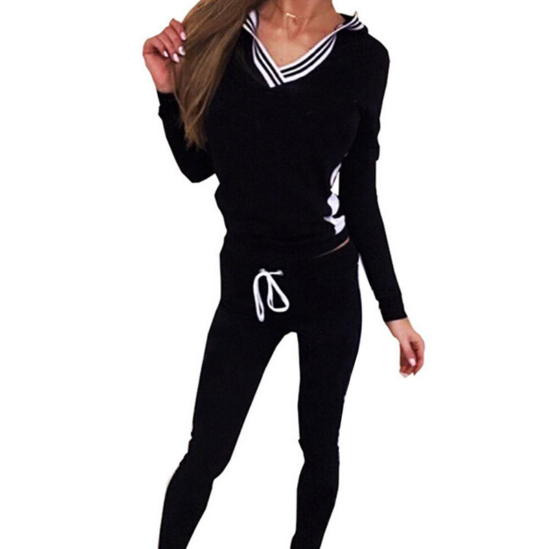 fashion Women set 2PCS casual Suit Tracksuit Hoodies Sweats Sweatshirt Long Pants Sets Wear Suit Clothes plus size
