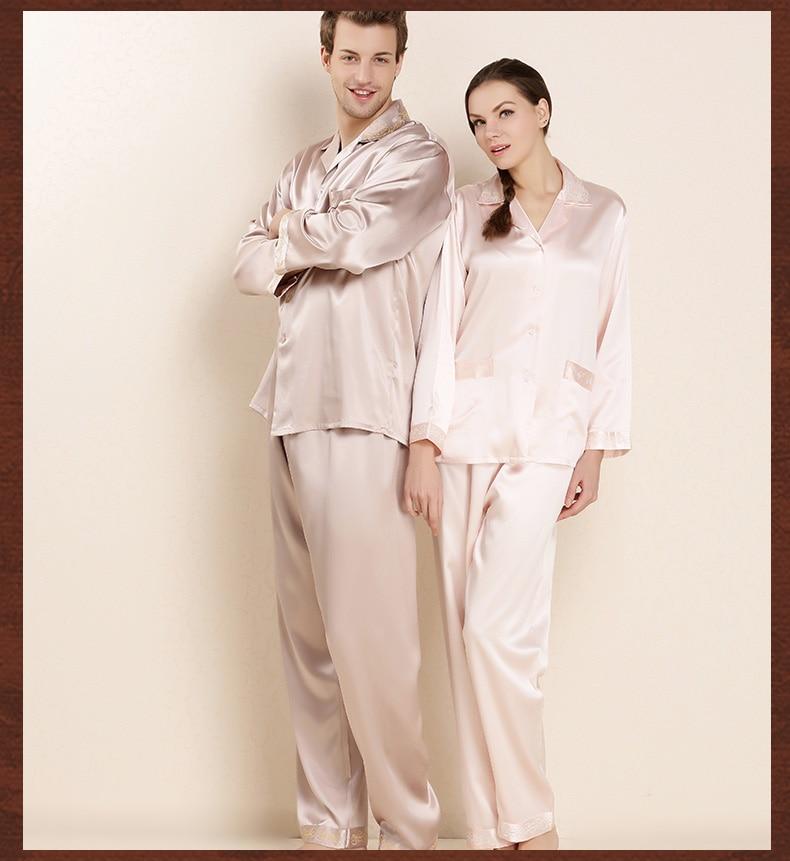 Men Real Silk Pajamas Women High Quality 100% Mulberry Silk Long-Sleeved Pajama Pants Sets Male Pyjama Lounge Set For Couples