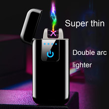 Plasma USB Lighter Touch-senstive Switch Lighter Cigarettes For Smoking Ciga Electronic Lighter Engrave Name Super Thin Lightr(China)