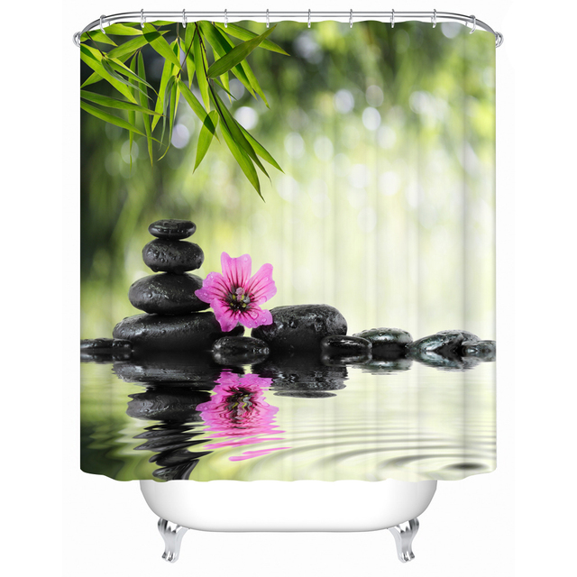 Zen Shower Curtain Bamboo Stone And Flower Pattern 3d Print Fabric