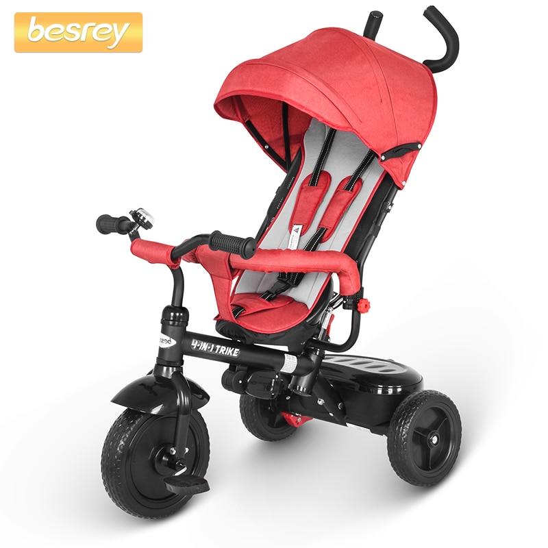 Besrey 4 In 1 Baby Tricycle Push Trike Three Wheels Stroller Children Bike Sitting And Riding