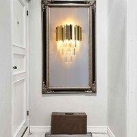 New crystal wall lamp LED golden wall lamp living room bedroom background lamp hotel bedside lamp restaurant villa wall lights|wall light|crystal wall lamp|wall lamp led -