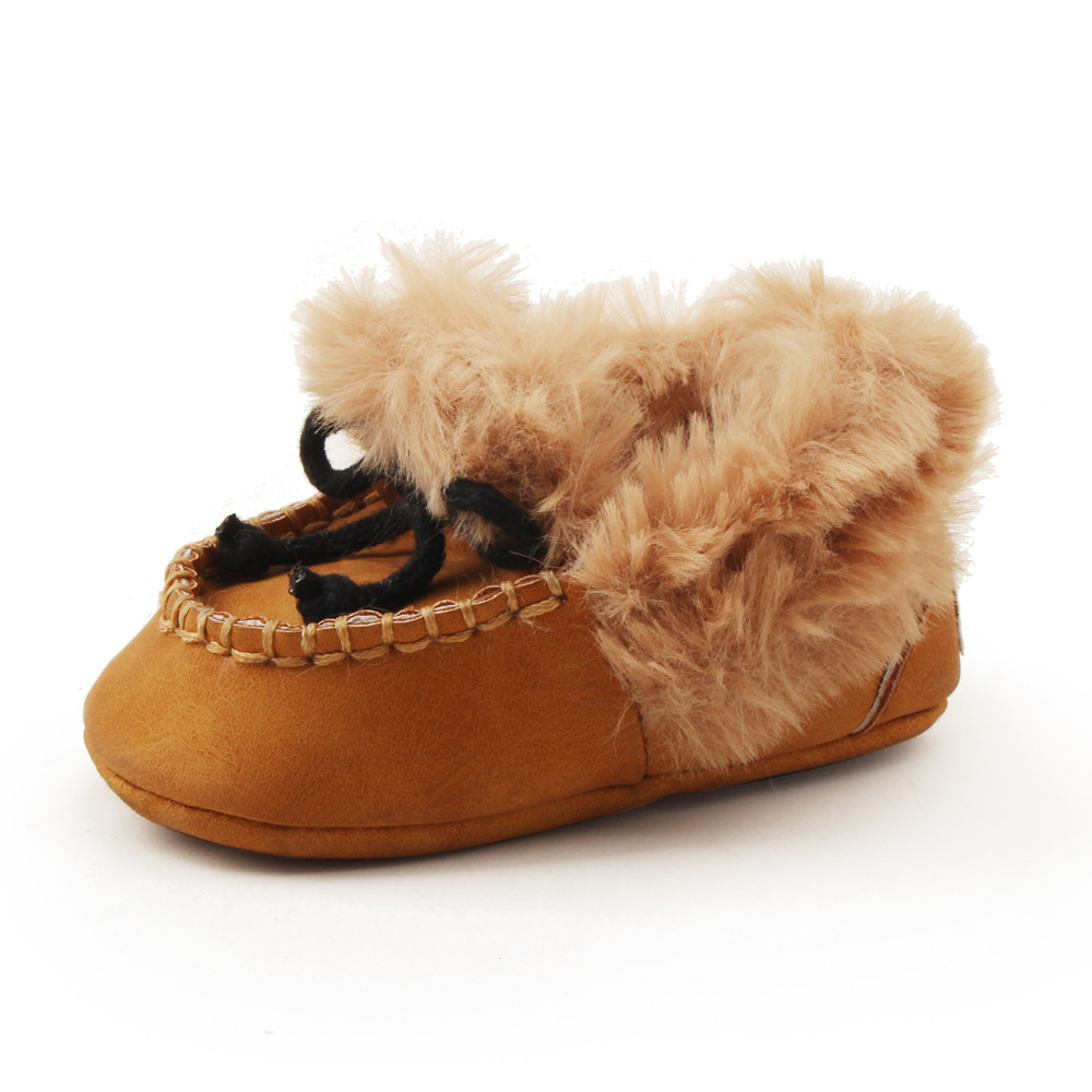 hot sell winter super warm with fur baby boots pu leather baby moccasins shoes baby boys girls boys boots first walkers