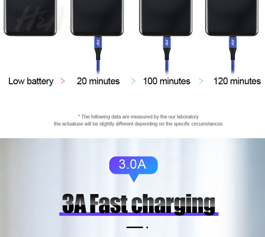H&A 3A Nylon Type C USB Cable For Fast Charging And Data Sync For Mobile Phone 11