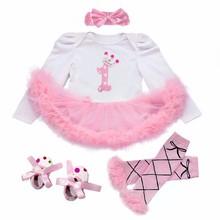 купить 1 st Girl Bodysuits Baby Baptism Dresses Birthday Girls Dress Cute Kid Clothing Tutu Flower Long Sleeve Clothes Summer Style по цене 1301.97 рублей