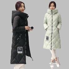 Женщины Зимнее Пальто 2016 Новый Корейский Капюшоном Средней Длины Вниз куртка Повседневная Большой размер Хлопок Пальто Толстые Теплые Куртки Женщин CoatAB215