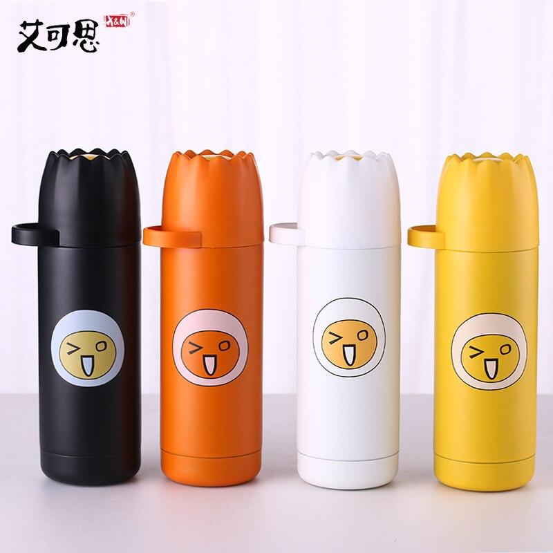 X&W 350ML Hot Water Bottle Creative Lovely Women Girls Vacuum Flask For hiking traveling Leak Proof Stainless Steel Jar