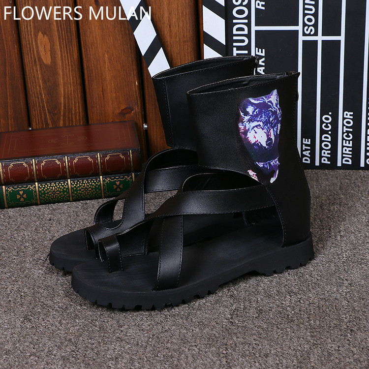 Fashion Designers Men Boots Sandals Black Genuine Leather Cross Tied Thong Sandals High Top Back Zip Printing Fox Shoes Zapatos