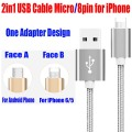 50PCS/Lot for iPhone 5 6 7 Plus iPad Android Phone 2 in 1 USB Cable Micro to 8pin Weave Style Fast Charging Cable 2.1A RC04