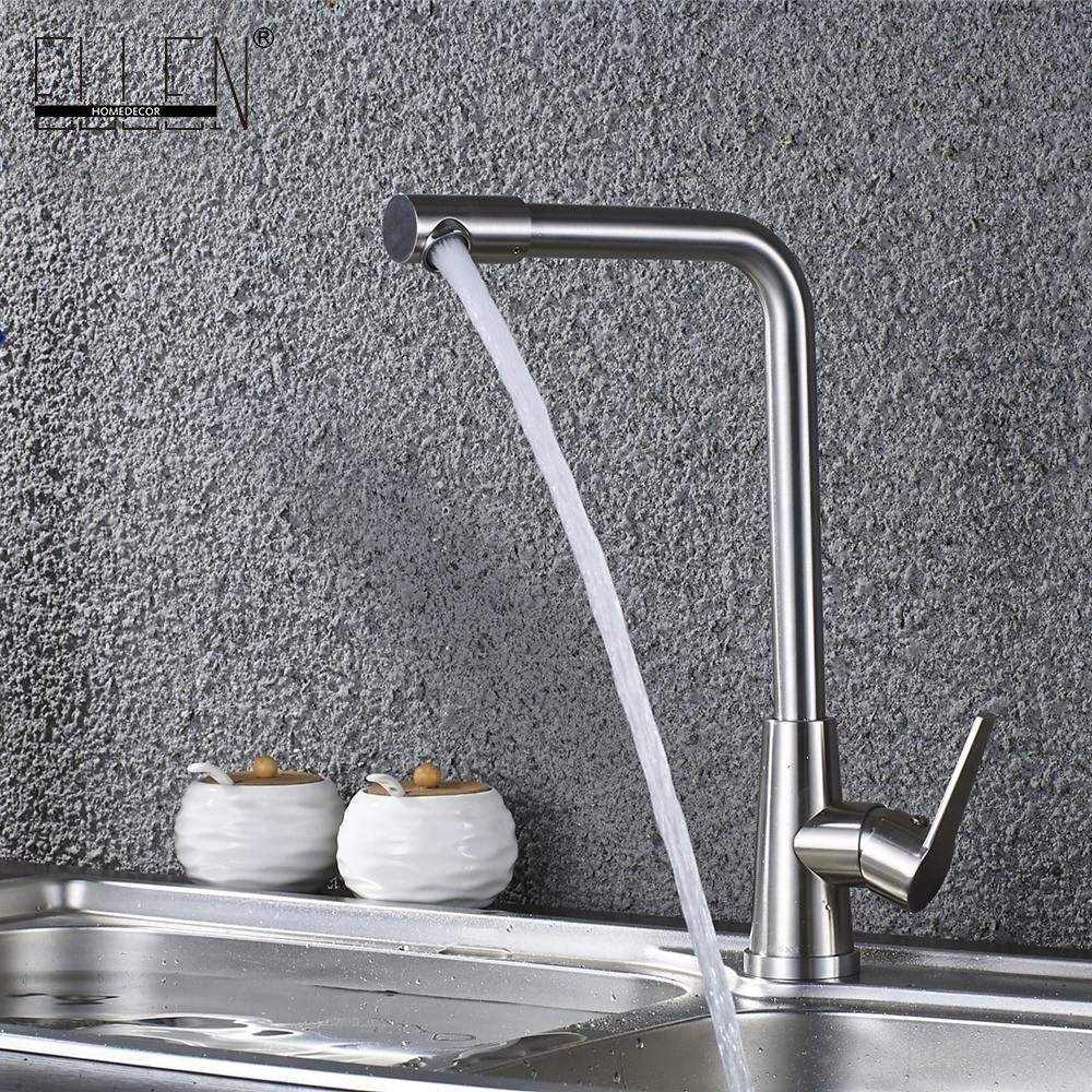 Kitchen Sink Faucet Stainless Steel 360 Degree Turn Spray Brush Nickel Kitchen Mixer Water Tap Hot and Cold ELS404 stainless steel manual push self turning stirrer egg beater whisk mixer kitchen wholesale price