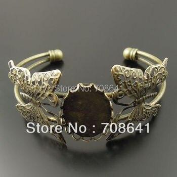 18x25mm Antique Bronze Plated Filigree Butterfly Oval Lace Bezel Tray Blank Base Bracelet Bangle Settings Crafts DIY Wholesale