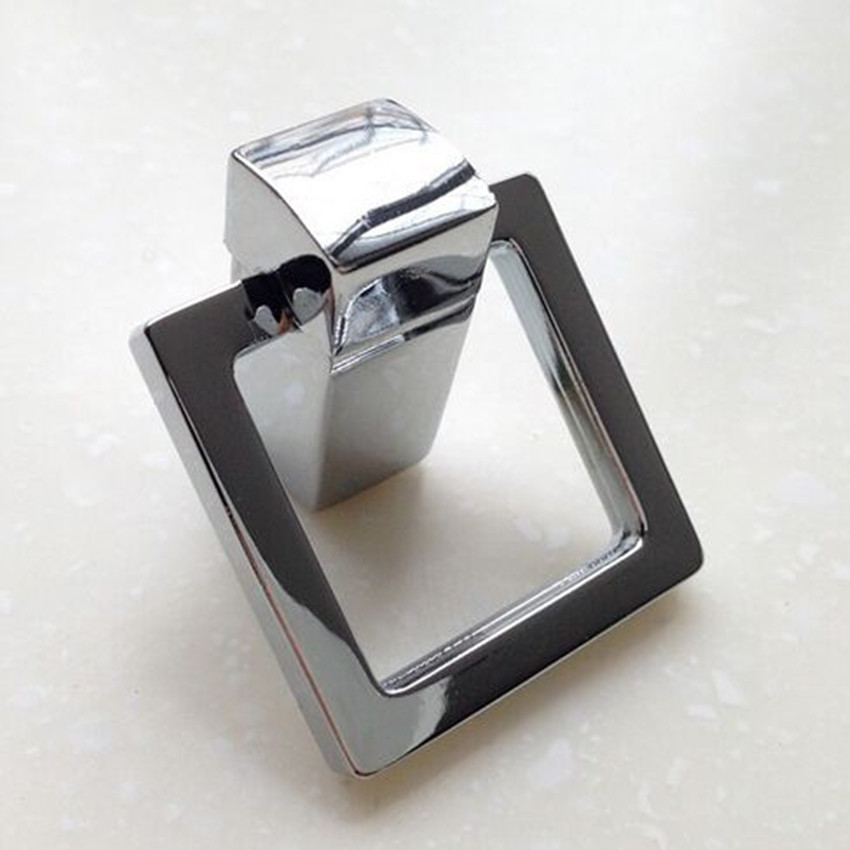 Modern Simple Bright Chrome Drop Rings Drawer Cabinet Knobs Pulls Square Shiny Silver Drop Dresser Kitchen Cabinet Door Handles