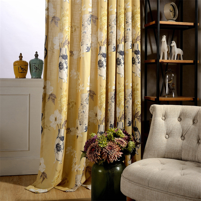 cafe kitchen curtains island with prep sink chinese vase printed drapes yellow semi light shading curtain decoration b16107 1