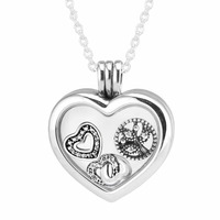 Solid 925 Sterling Silver Heart Floating Locket Necklace Pendants Charms With 3 Piece Petite Beads 2017