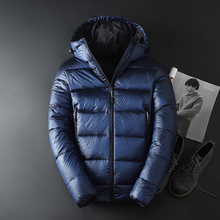 fddfb3cdc37 Asstseries 2018 Men White goose Male warm Coats Solid Hooded Casual Down  Jacket
