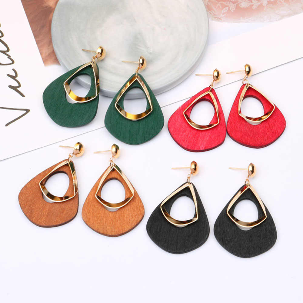 2019 Fashion Vintage Statement Earrings Wooden Hollow Earrings for Women Water Drop Dangle Jewelry Brincos Party Wedding Gifts