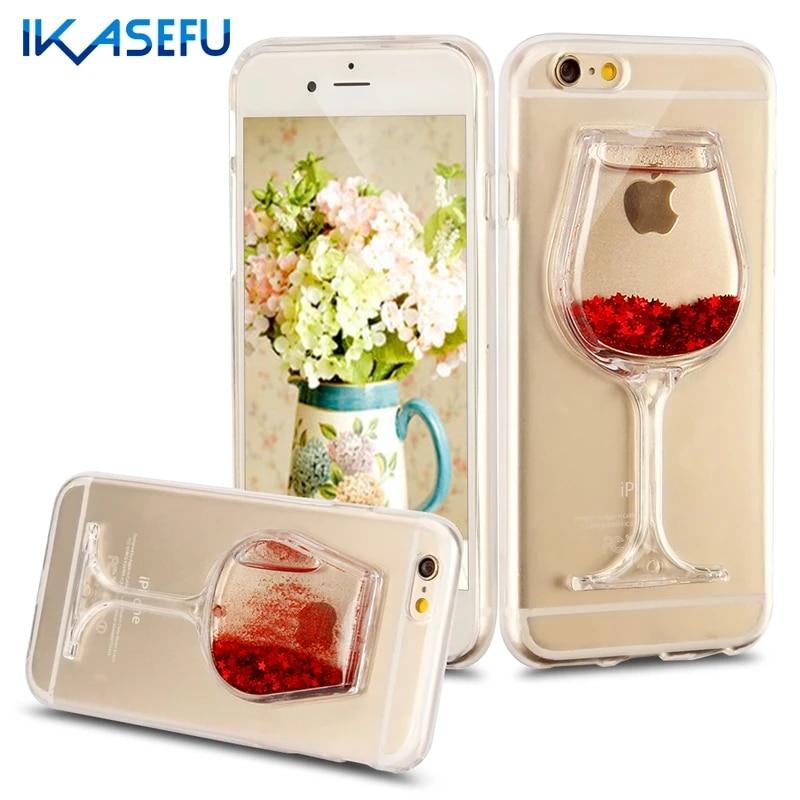 Bling Fundas per il iphone 6 4.7 Casi Copre Bicchiere di Vino Rosso Glitter Molle Custodia In Silicone TPU per il iphone 6 6 S 6 S Più 5.5 Coque Capa