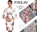 Brand Summer Style Elegant Ladies O-neck 3/4 Flare Sleeve Floral Satin Knee Length Slim Bodycon Slit Dress Plus Size XXL