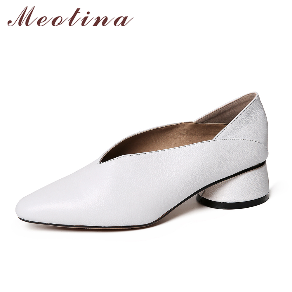 Meotina Natural Genuine Leather Shoes Women Pumps Glove Shoes Thick Heels Mules Shoes Spring Cow Leather