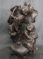 007379 Old Ancient Chinese Culture Folk Copper Bronze Statue Lucky Boy Girl Sculpture