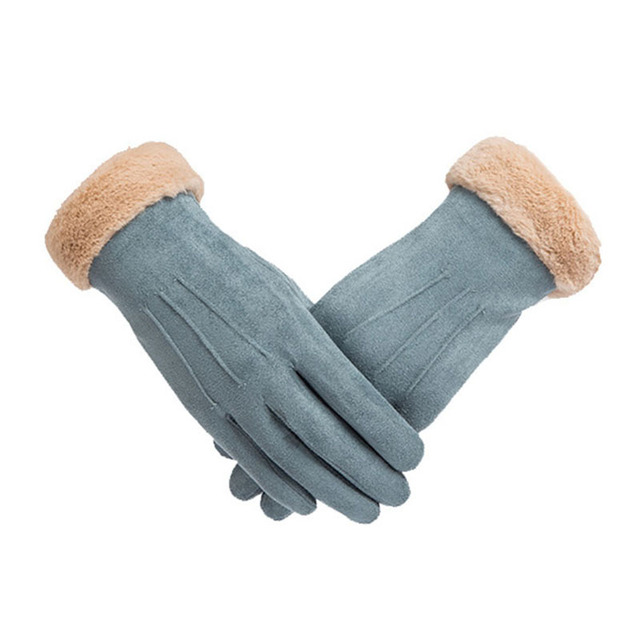 Suede Gloves Women Touch...