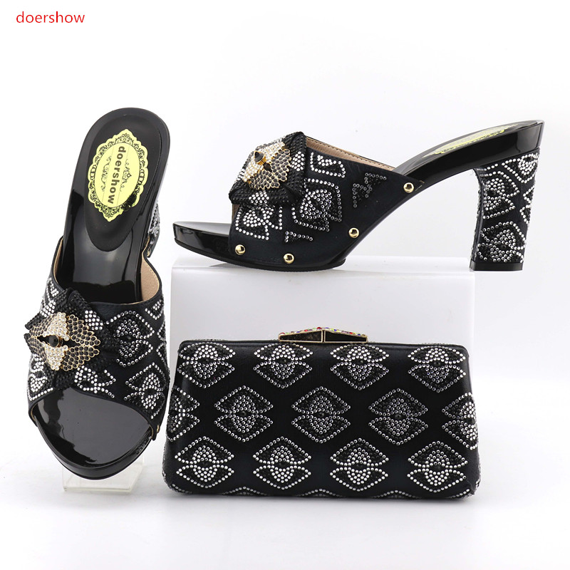 doershow New Italian Rhinestone Woman Shoes And Bags Set Africa blackStyle High Heels Slipper Shoes And Bag Set For Party  OP1-7 capputine new arrival fashion shoes and bag set high quality italian style woman high heels shoes and bags set for wedding party