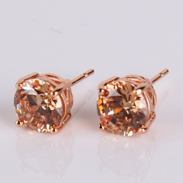 Vintage Cubic Zirconia Stud Earrings Rose Gold Color Yellow Rhinestone CZ Stud Earrings For Women High Quality E031f starry pattern gold plated alloy rhinestone stud earrings for women pink pair