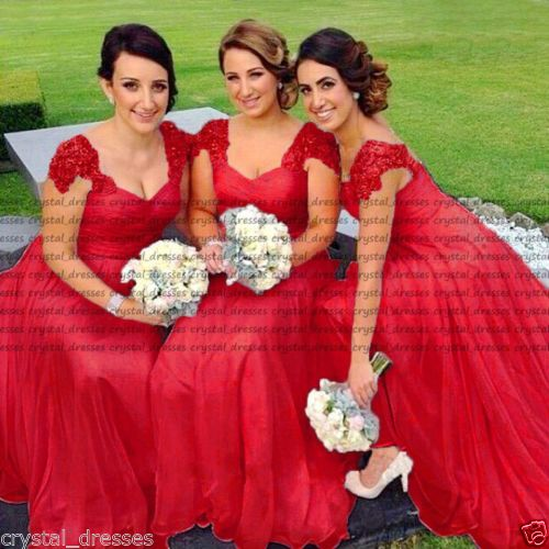 Custom Make Chiffon Bridesmaid Dresses Pop Cap Shoulder Sweetheart Ruffles  Appliques Vestido Madrinha Full Length Banquet Dress-in Bridesmaid Dresses  from ... c7104d490a12