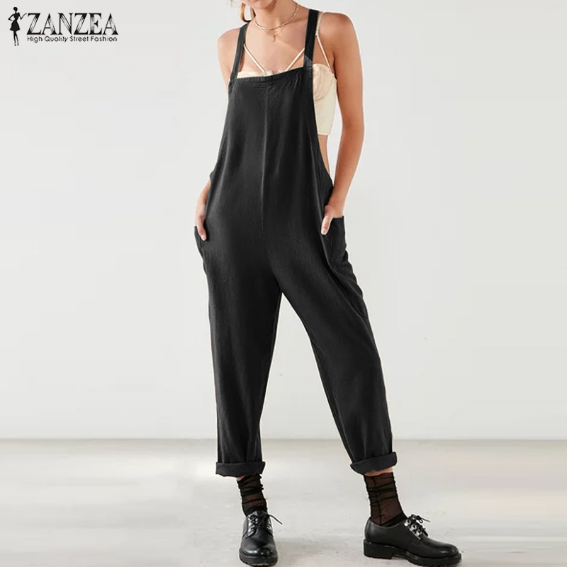 Long Turnip Jumpsuits ZANZEA Women Solid Casual Sleeveless Strappy Overalls Jumpsuit Cotton Linen Long Pants Romper Playsuits
