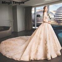 Mingli Tengda Champagne Wedding Dresses Full Lace Bride Dress Royal Train Wedding Dress Pearl Short Sleeve Bridal Gown Trouwjurk