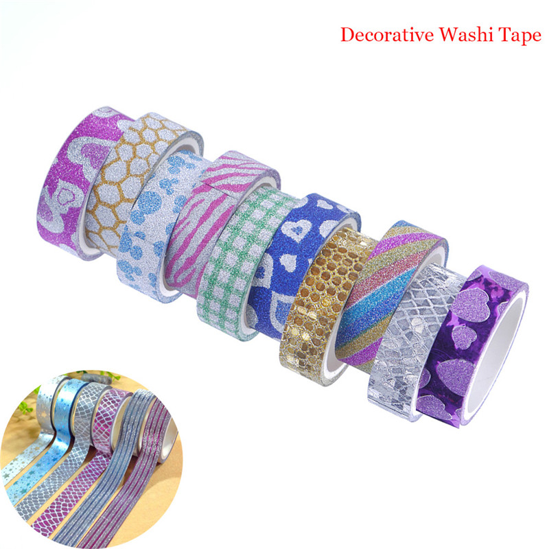 10Pcs/set 15MM*3M Random Pattern Decorative Washi Tape DIY Scrapbooking Masking Craft Tape School Office Supply Stationery Tape colorful gilding hot silver alice totoro decorative washi tape diy scrapbooking masking craft tape school office supply