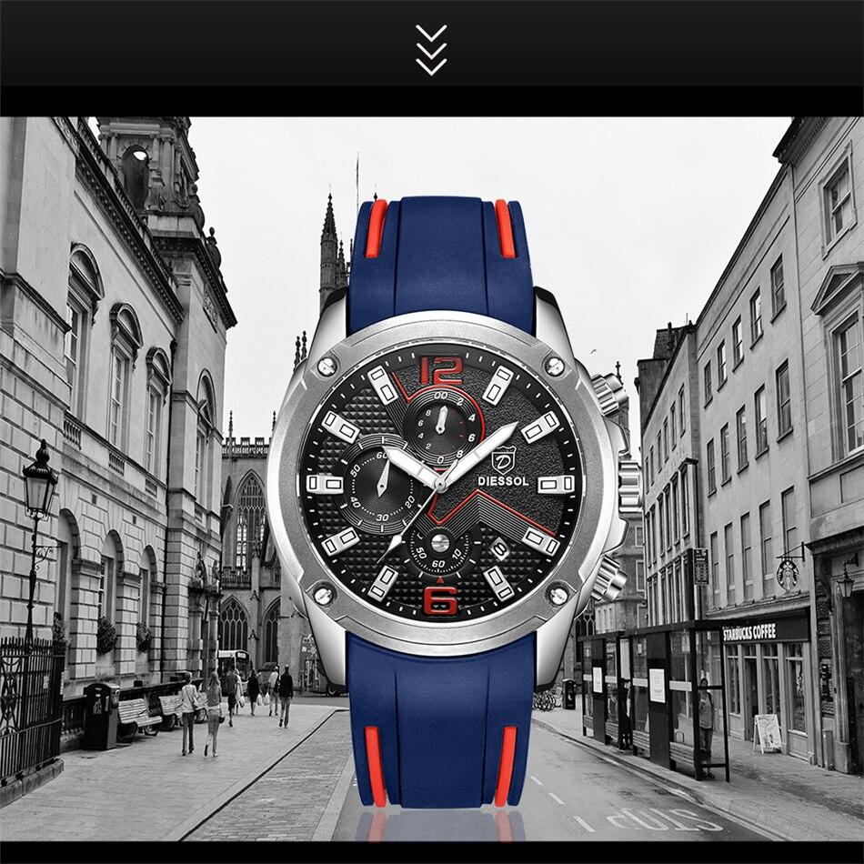 DIESSOL Men's Fashion Sports Quartz Watch Mens Watches Top Brand Luxury Rubber Band Waterproof Business Watch Relogio Masculino 17