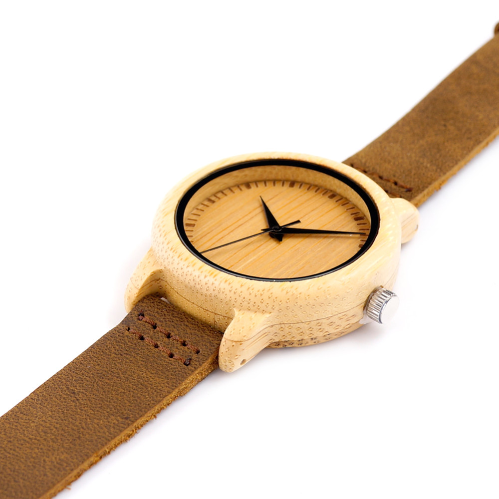 Bamboo Wooden Watch For Men With Leather Straps Fashion Watch For Gifts In a Box