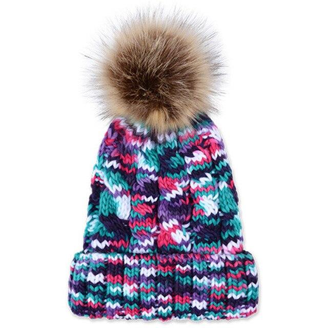 Зима новый конфеты цвет пункте крашения шерсти женщин шапка грубая каннабиса вязать шляпы пара теплые большие волосы мяч толстой мягкой шапочки