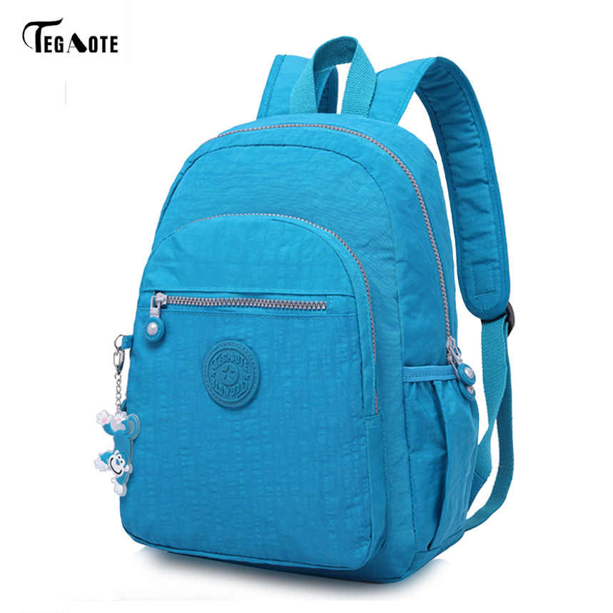 TEGAOTE Brand Nylon Men Women Backpack College High Middle School Bags For Teenager  Boy Laptop Travel d1532ef93ae41
