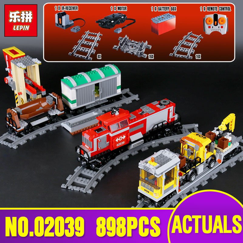 Lepin 02039 Genuine City Series The Red Cargo Train Set legoing 3677 Building Blocks Bricks Educational Toys As Christmas Gifts lepin 02082 new 829pcs city series the cargo terminal set diy toys 60169 building blocks bricks children educational gifts model