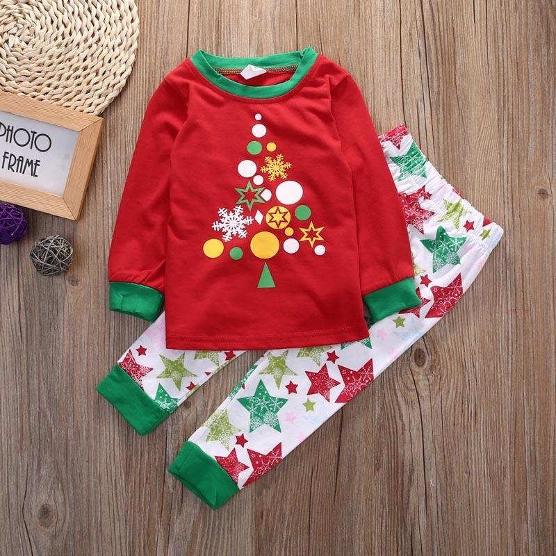 Cotton Kids Baby Boys Girls Christmas Sleepwear Sets 1 7Years